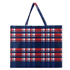 Plaid Red White Blue Zipper Large Tote Bag by Alisyart