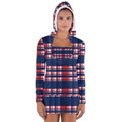 Plaid Red White Blue Women s Long Sleeve Hooded T-shirt by Alisyart