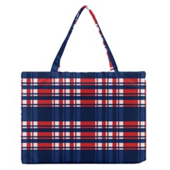 Plaid Red White Blue Medium Zipper Tote Bag by Alisyart