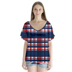 Plaid Red White Blue Flutter Sleeve Top