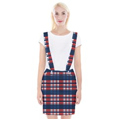 Plaid Red White Blue Suspender Skirt by Alisyart