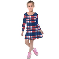 Plaid Red White Blue Kids  Long Sleeve Velvet Dress