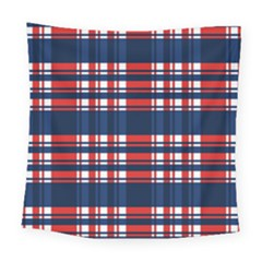 Plaid Red White Blue Square Tapestry (large)