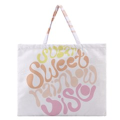 Sugar Sweet Rainbow Zipper Large Tote Bag