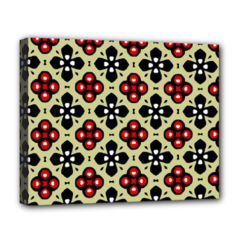 Seamless Floral Flower Star Red Black Grey Deluxe Canvas 20  X 16