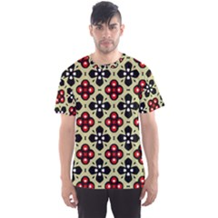 Seamless Floral Flower Star Red Black Grey Men s Sport Mesh Tee by Alisyart