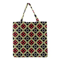 Seamless Floral Flower Star Red Black Grey Grocery Tote Bag