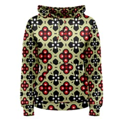Seamless Floral Flower Star Red Black Grey Women s Pullover Hoodie