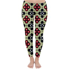 Seamless Floral Flower Star Red Black Grey Classic Winter Leggings