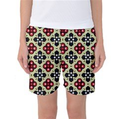 Seamless Floral Flower Star Red Black Grey Women s Basketball Shorts by Alisyart