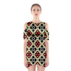 Seamless Floral Flower Star Red Black Grey Shoulder Cutout One Piece