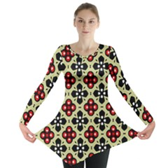 Seamless Floral Flower Star Red Black Grey Long Sleeve Tunic