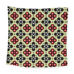 Seamless Floral Flower Star Red Black Grey Square Tapestry (large)