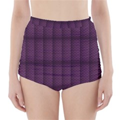 Plaid Purple High Waisted Bikini Bottoms
