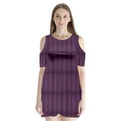 Plaid Purple Shoulder Cutout Velvet  One Piece by Alisyart