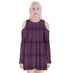 Plaid Purple Velvet Long Sleeve Shoulder Cutout Dress by Alisyart