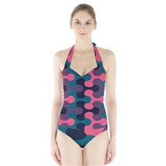 Symmetry Celtic Knots Contemporary Fabric Puzzel Halter Swimsuit by Alisyart