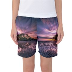 Landscape Reflection Waves Ripples Women s Basketball Shorts by Amaryn4rt