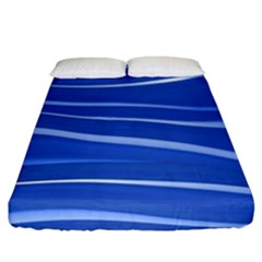 Lines Swinging Texture  Blue Background Fitted Sheet (king Size) by Amaryn4rt