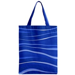 Lines Swinging Texture  Blue Background Zipper Classic Tote Bag by Amaryn4rt
