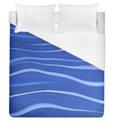 Lines Swinging Texture  Blue Background Duvet Cover (queen Size) by Amaryn4rt