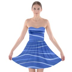 Lines Swinging Texture  Blue Background Strapless Bra Top Dress