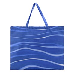 Lines Swinging Texture  Blue Background Zipper Large Tote Bag by Amaryn4rt