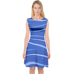 Lines Swinging Texture  Blue Background Capsleeve Midi Dress by Amaryn4rt