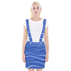 Lines Swinging Texture  Blue Background Suspender Skirt