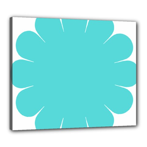 Turquoise Flower Blue Canvas 24  X 20