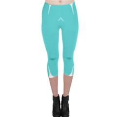 Turquoise Flower Blue Capri Leggings