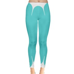 Turquoise Flower Blue Classic Winter Leggings
