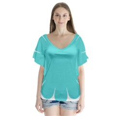 Turquoise Flower Blue Flutter Sleeve Top