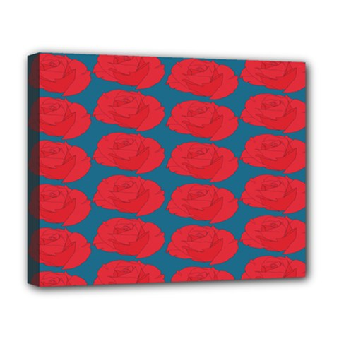 Rose Repeat Red Blue Beauty Sweet Deluxe Canvas 20  X 16   by Alisyart