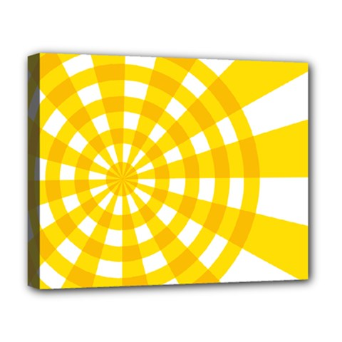 Weaving Hole Yellow Circle Deluxe Canvas 20  X 16