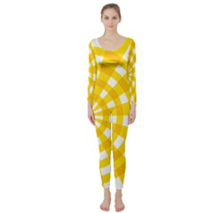 Weaving Hole Yellow Circle Long Sleeve Catsuit