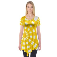 Weaving Hole Yellow Circle Short Sleeve Tunic