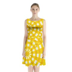 Weaving Hole Yellow Circle Sleeveless Chiffon Waist Tie Dress by Alisyart