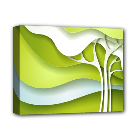 Tree Wood  White Green Deluxe Canvas 14  X 11  by Alisyart
