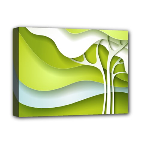 Tree Wood  White Green Deluxe Canvas 16  X 12