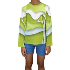 Tree Wood  White Green Kids  Long Sleeve Swimwear by Alisyart