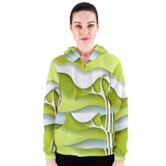 Tree Wood  White Green Women s Zipper Hoodie