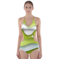 Tree Wood  White Green Cut Out One Piece Swimsuit