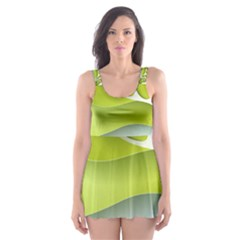 Tree Wood  White Green Skater Dress Swimsuit by Alisyart
