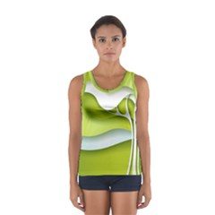 Tree Wood  White Green Women s Sport Tank Top  by Alisyart