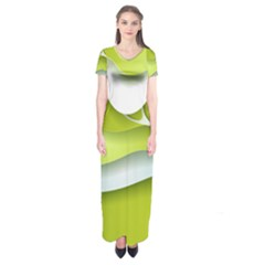 Tree Wood  White Green Short Sleeve Maxi Dress by Alisyart