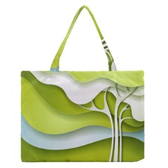 Tree Wood  White Green Medium Zipper Tote Bag by Alisyart