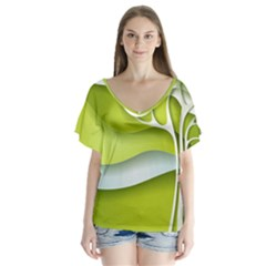Tree Wood  White Green Flutter Sleeve Top