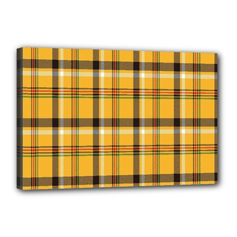 Plaid Yellow Line Canvas 18  X 12