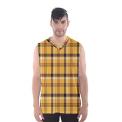 Plaid Yellow Line Men s Basketball Tank Top by Alisyart